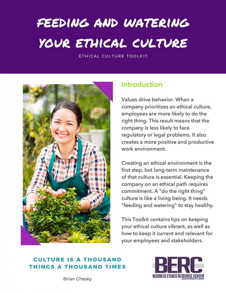 Feeding and Watering your ethical culture